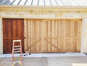 Before, During, & After Cedar Garage Door Staining in Shiloh Lakes, Richmond, TX (1)