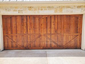 Before, During, & After Cedar Garage Door Staining in Shiloh Lakes, Richmond, TX (2)