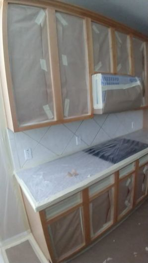 Before & After Kitchen Cabinet Painting & Backsplash Installation in Sugarland, TX (1)