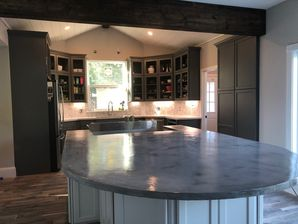 Concrete Countertops, Stained Beam on Ceiling, New Backsplash, Under-Cabinet Lighting & Custom Cabinets for Kitchen Remodel in Richmond, TX (3)